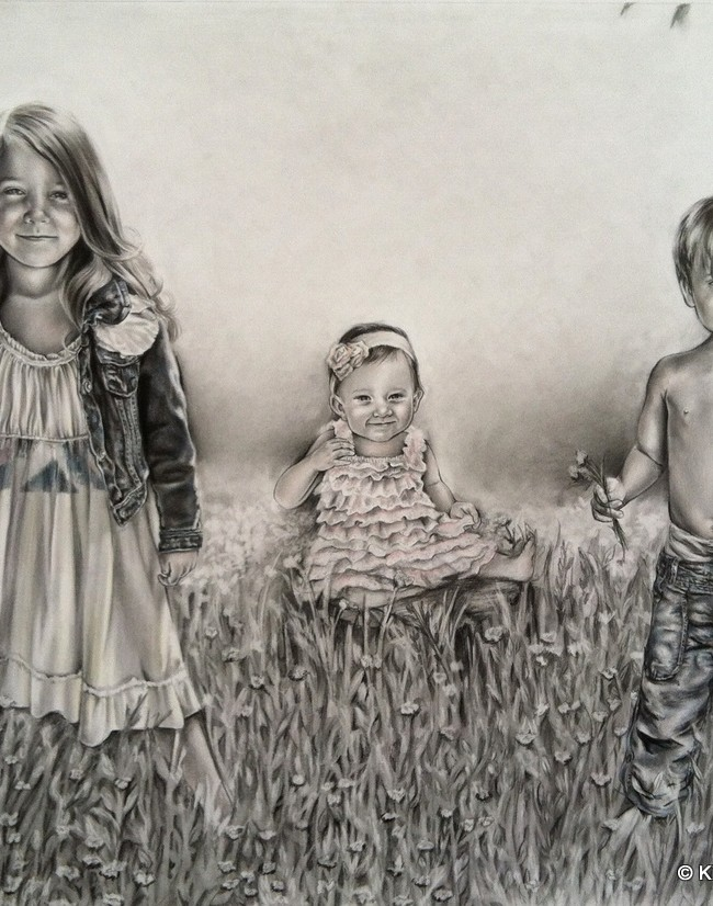 Whimsical Children in a field of flowers