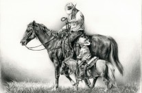 Father and Son Memories On Horseback Drawing