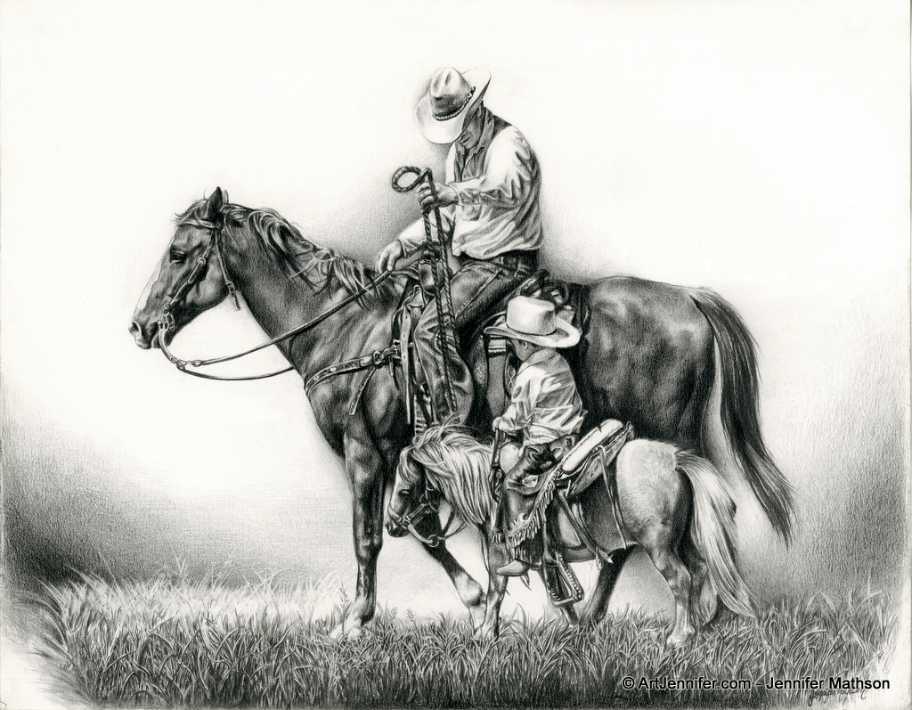 father son horseman drawing